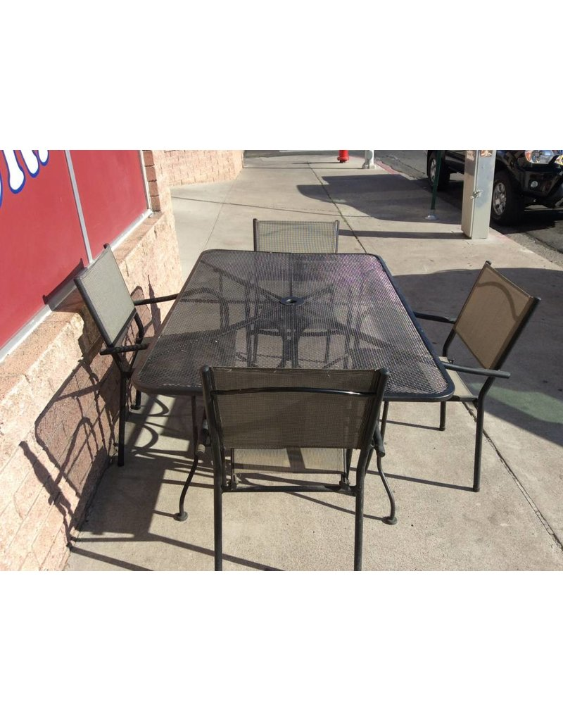 5 pc patio set black mesh metal