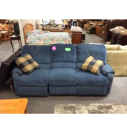 Dual rec sofa / blue tweed