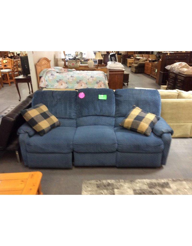 Dual rec sofa / blue tweed