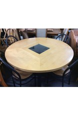 5 piece dinette natural/ metal w/ glass