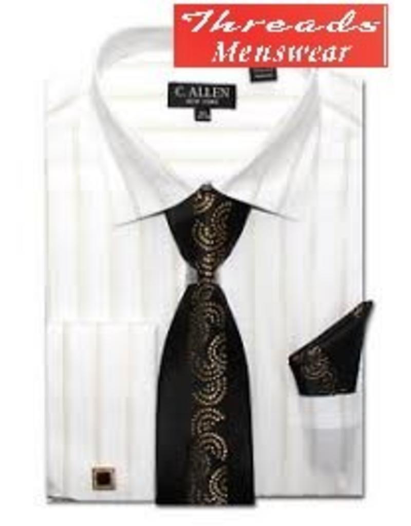 C. Allen C. Allen Metallic Shirt, Tie, Handkerchief, & Cufflinks Set JM108 - Black or White