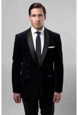Tazio Tazio Slim Fit Velvet Blazer - MJ159S Black