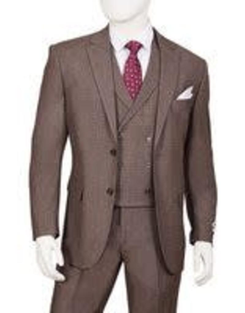 Lorenzo Bruno Lorenzo Bruno Vested Suit - F62SQ Cedar Brown