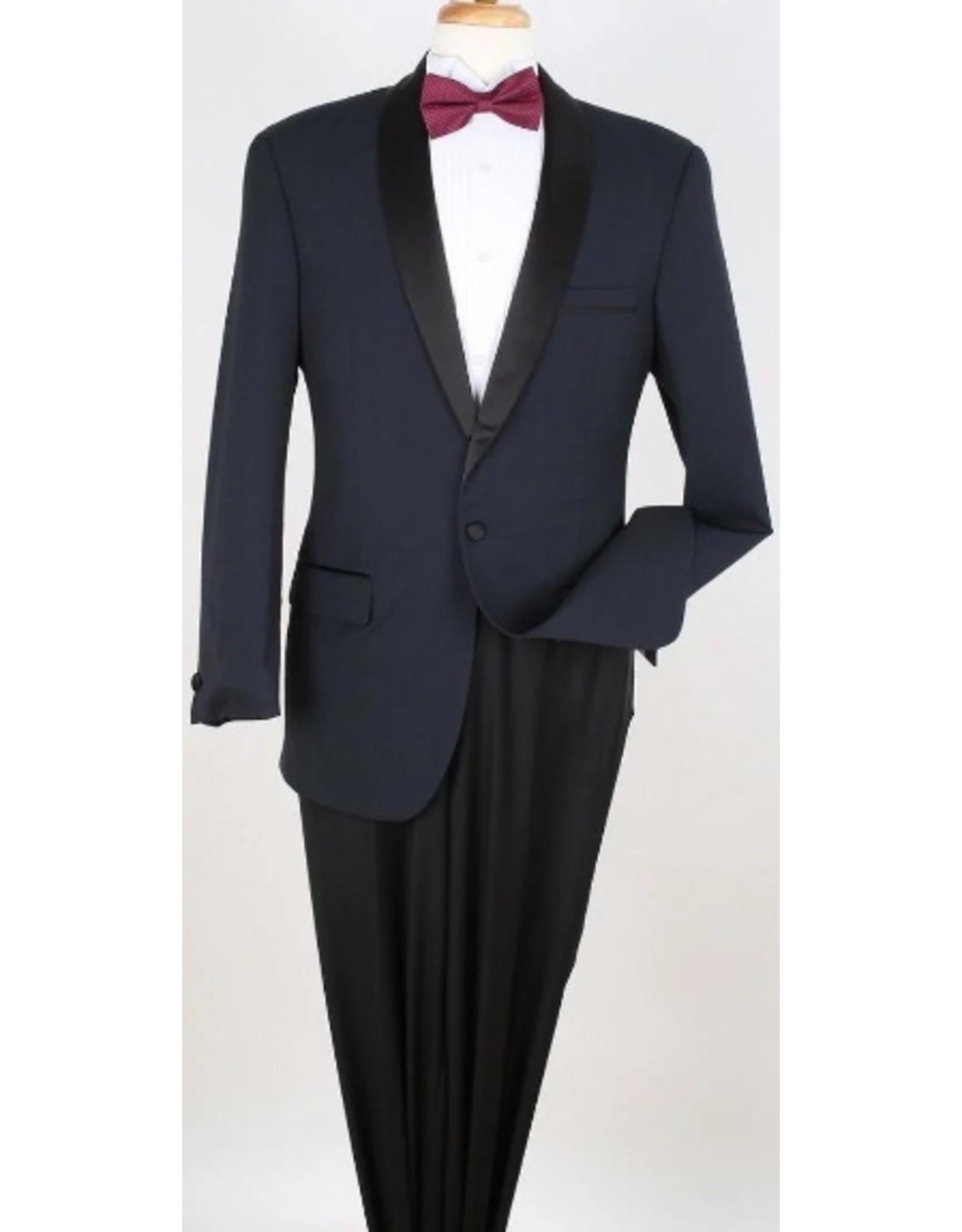 Apollo King Apollo 100% Wool Tuxedo - Navy/Black