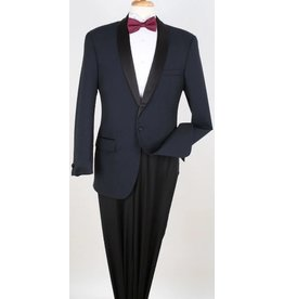 Apollo King Apollo 100% Wool Tuxedo - Navy/Black