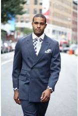 Apollo Double Breast Suit - DH412 Blue/White/Black Stripe