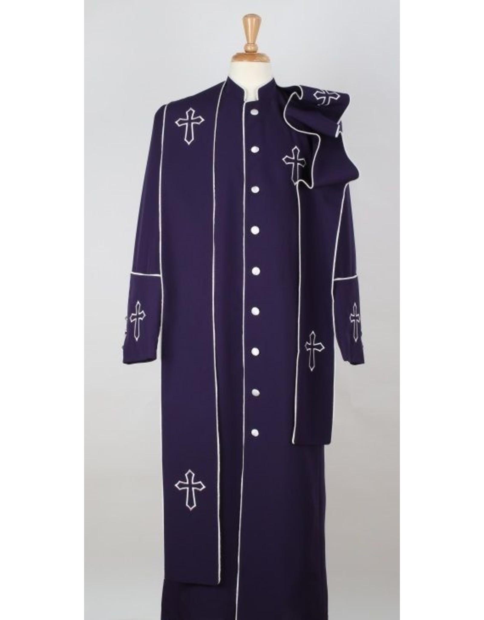 Royal Diamond Royal Diamond Robe & Stole - Purple/White