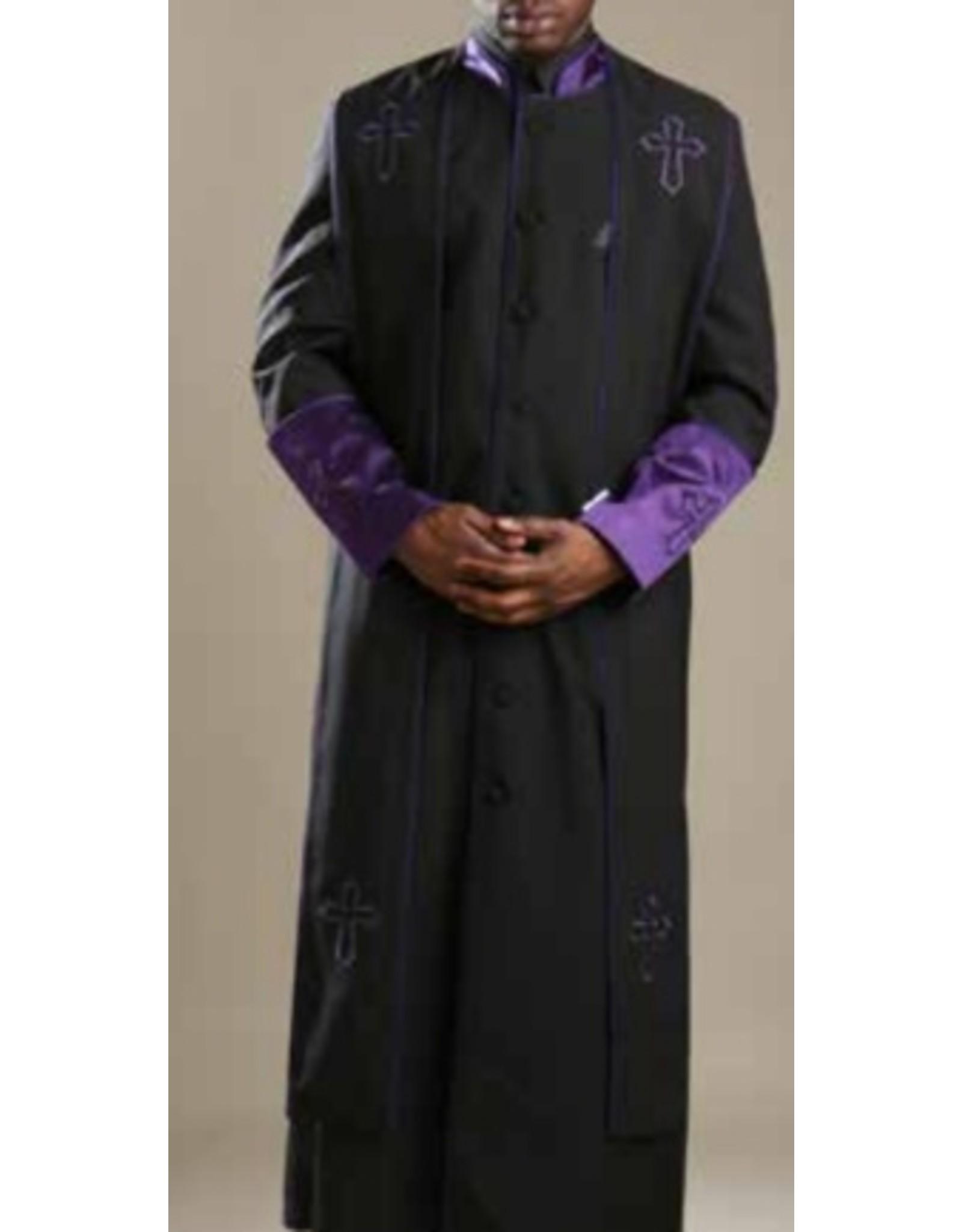 Royal Diamond Royal Diamond Robe & Stole - Black/Purple