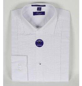 Laydown Collar Tuxedo Shirt - White
