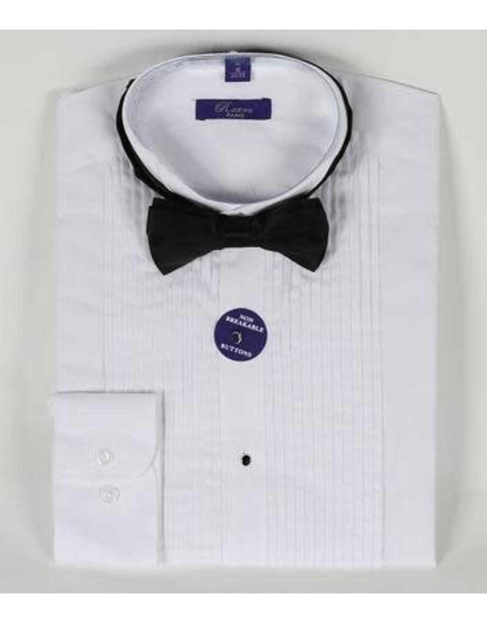 Daniel Ellissa Wing Collar Tuxedo Shirt & Bowtie - White