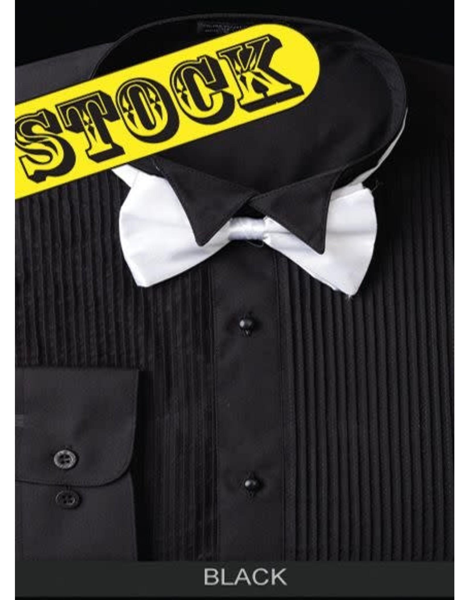 Daniel Ellissa Wing Collar Tuxedo Shirt & Bowtie - Black