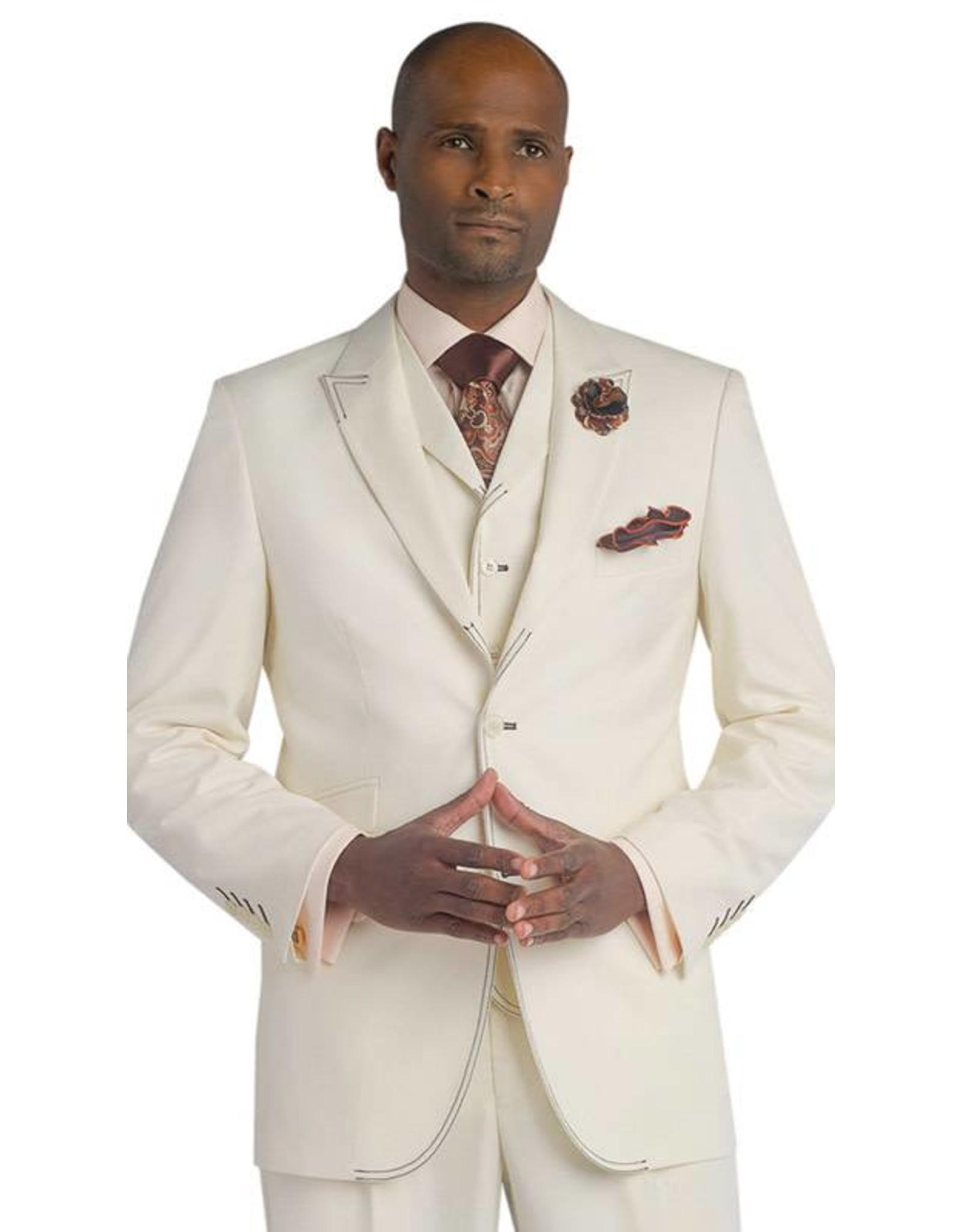 EJ Samuel EJ Samuel Vested Suit - M2688 Cream/Brown