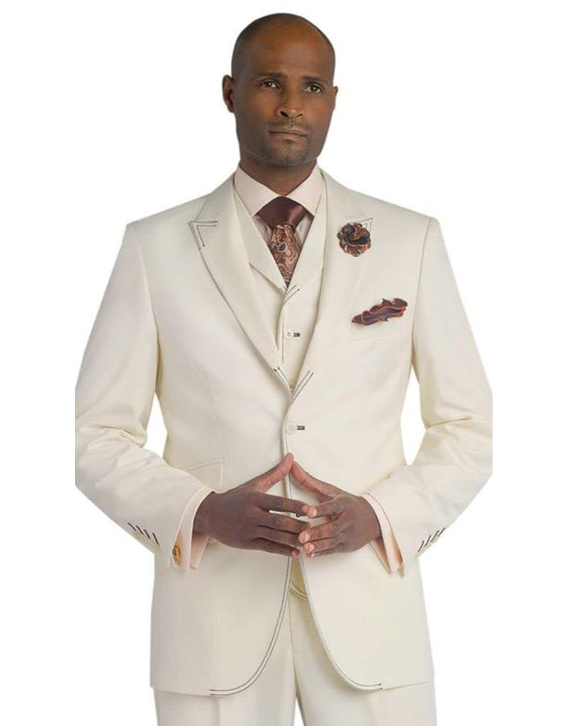 EJ Samuel EJ Samuel Vested Suit - M2688 Cream/Brown