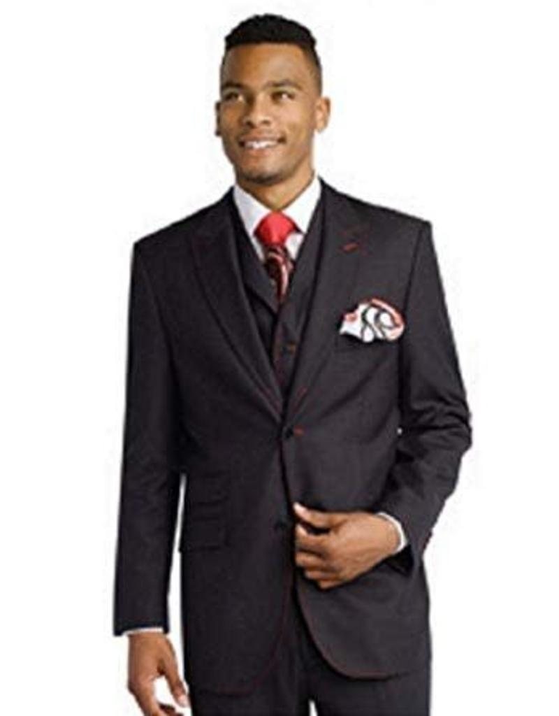 EJ Samuel EJ Samuel Vested Suit - M2688 Black/Red