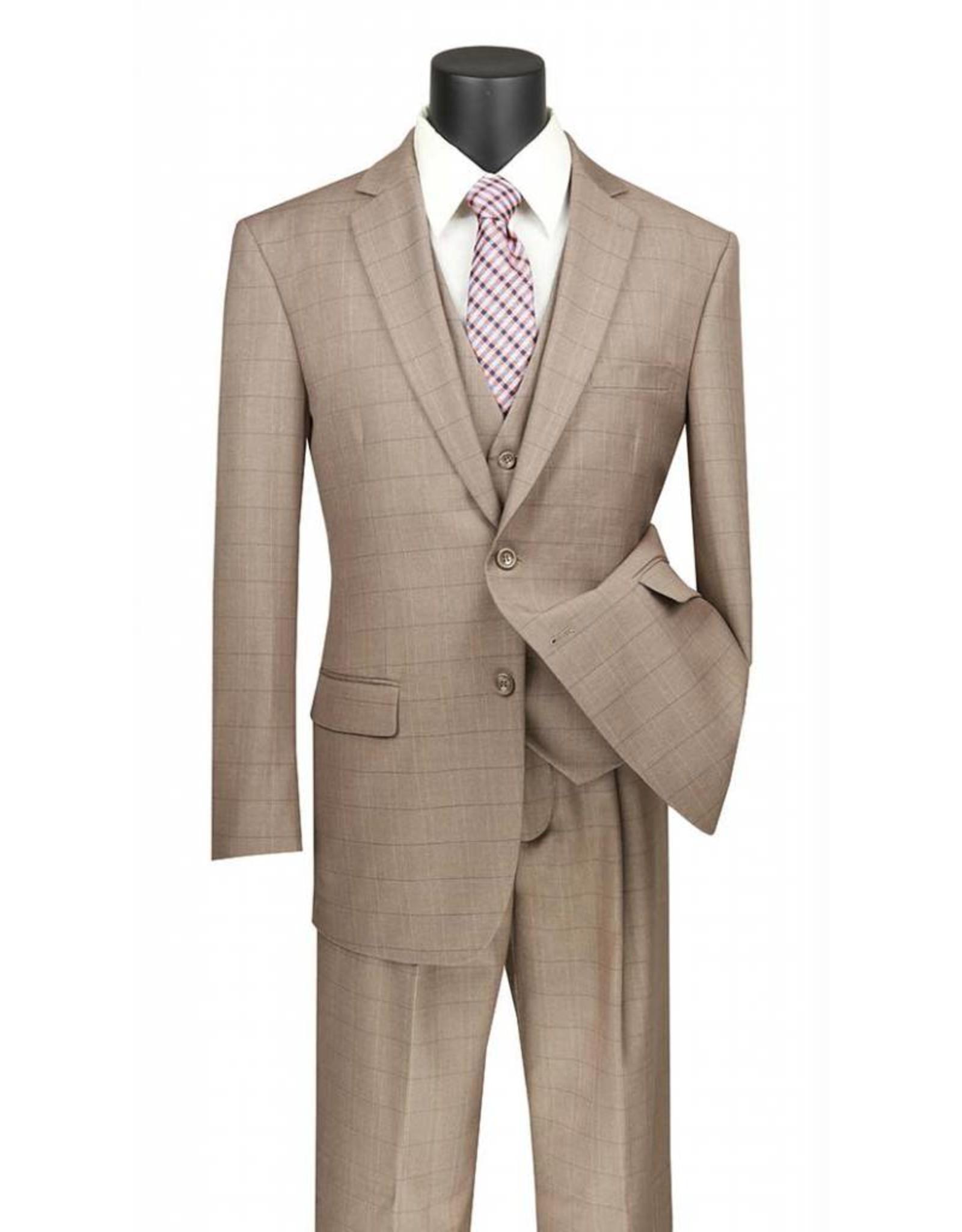 Vinci Vinci Vested Suit - V2RW15 Tan