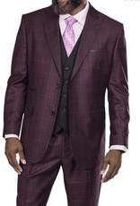Steve Harvey Steve Harvey Vested Suit - 218857 Burgundy
