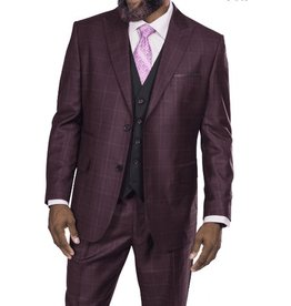 Steve Harvey Steve Harvey Vested Suit - 218857 Burgundy