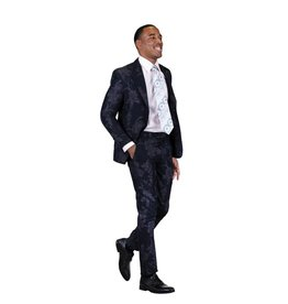 Stacy Adams Stacy Adams Slim Fit Floral Suit - 9060SEA Navy