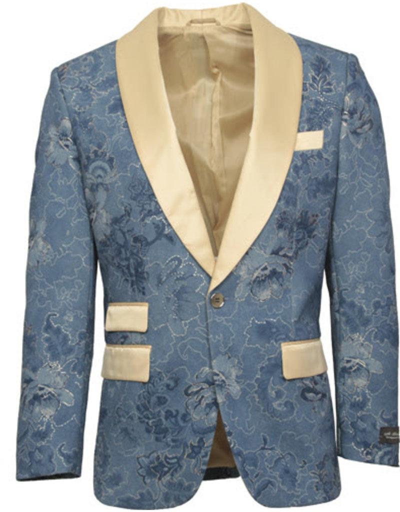 St. Patrick St. Patrick Slim Fit Blazer - SP10 Blue/Tan