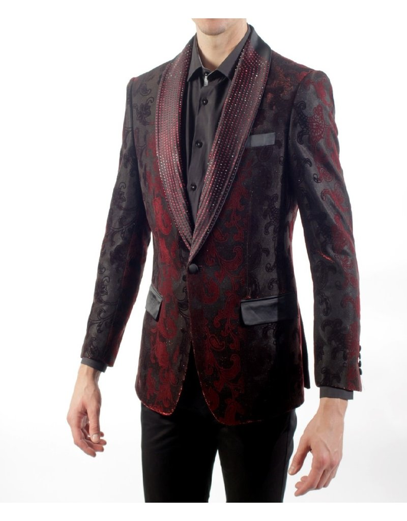 Barabas Barabas Slim Fit Blazer - BL3008 Red/Burgundy