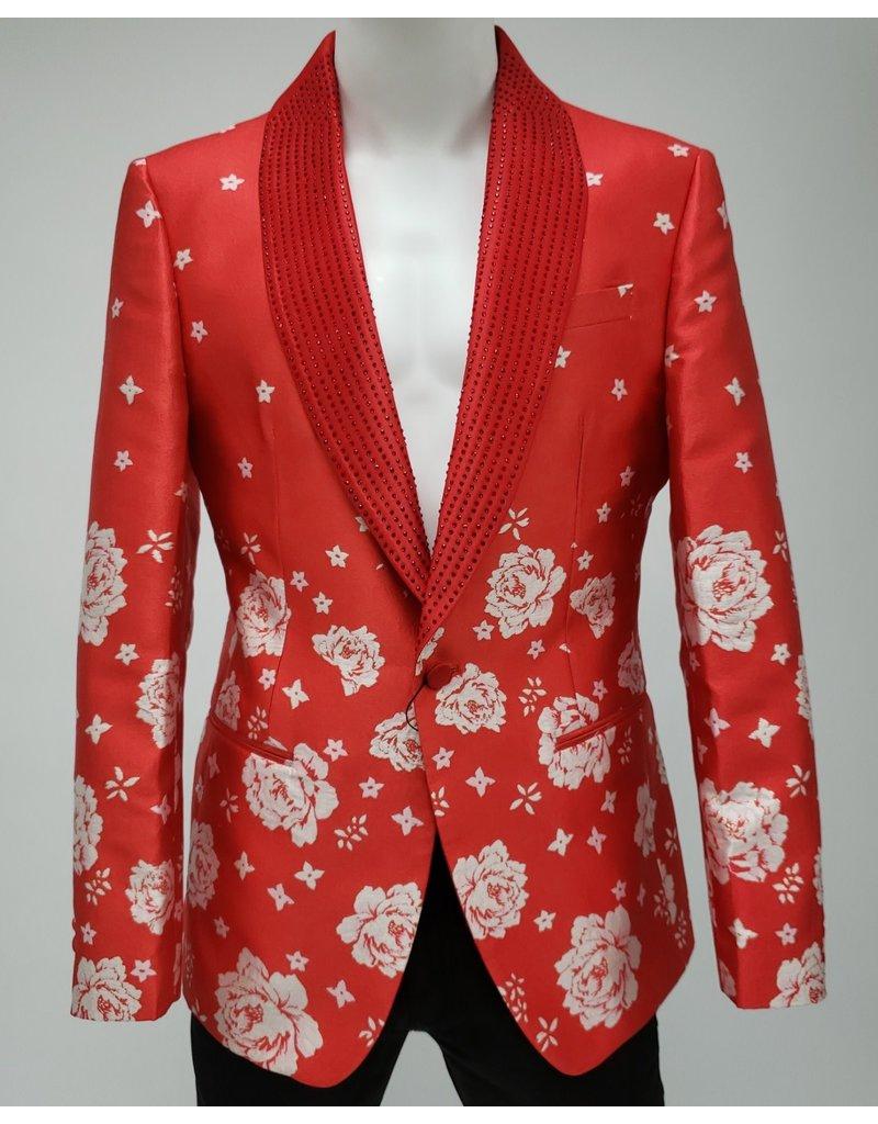 Barabas Barabas Slim Fit Blazer - BL1815 Red/White