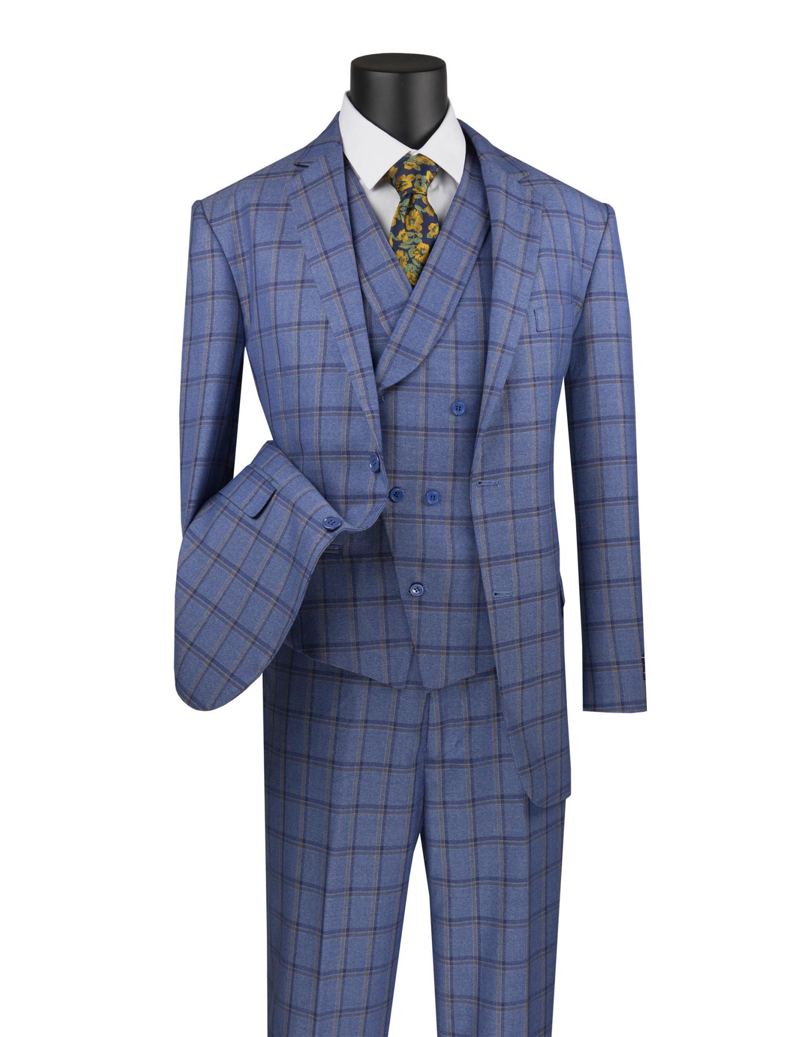 Vinci Vinci Vested Suit - V2RW12 Blue