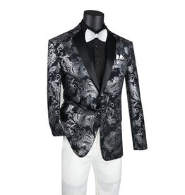Vinci Vinci Slim Fit Blazer - BS13 Black/Silver