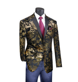 Vinci Vinci Slim Fit Blazer - BS13 Black/Gold