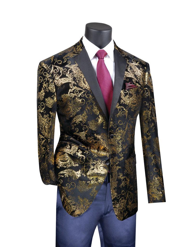 Vinci Vinci Slim Fit Blazer - BS13 Black/Gold