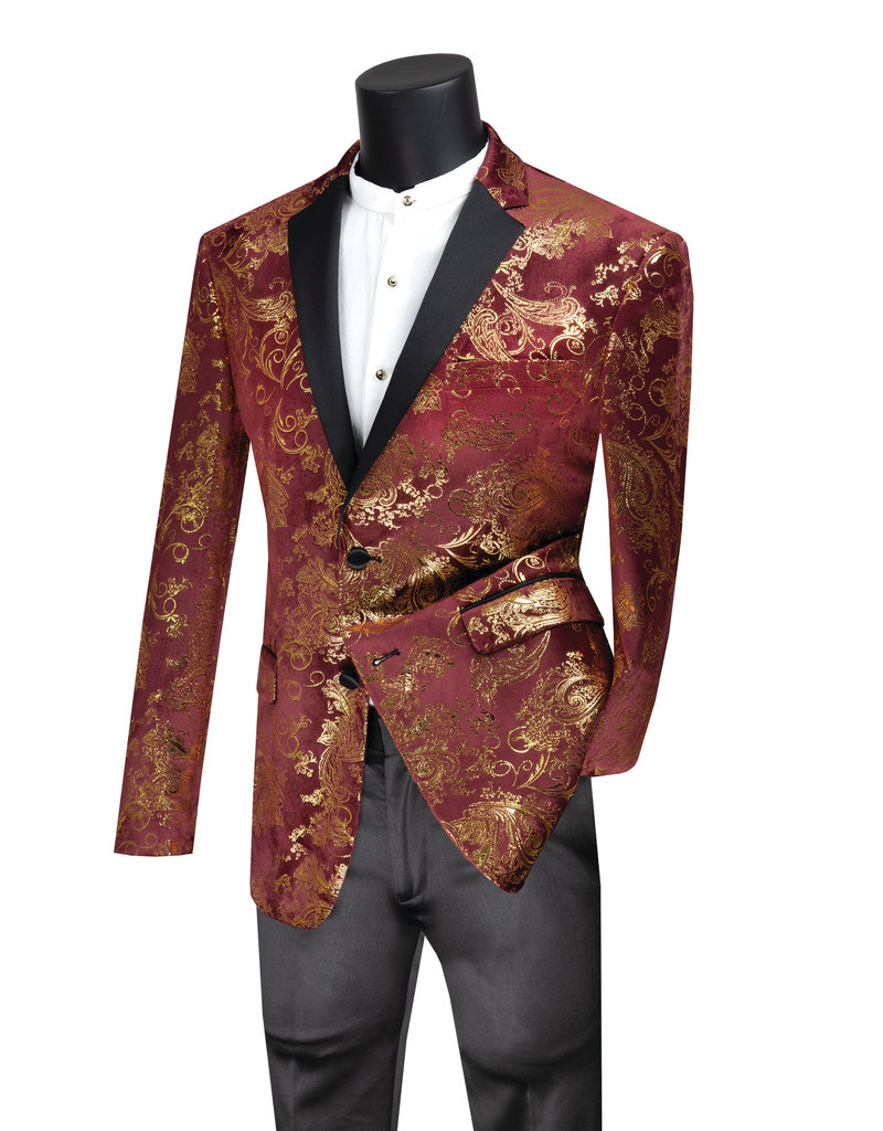 Vinci Vinci Slim Fit Blazer - BS13 Maroon/Gold