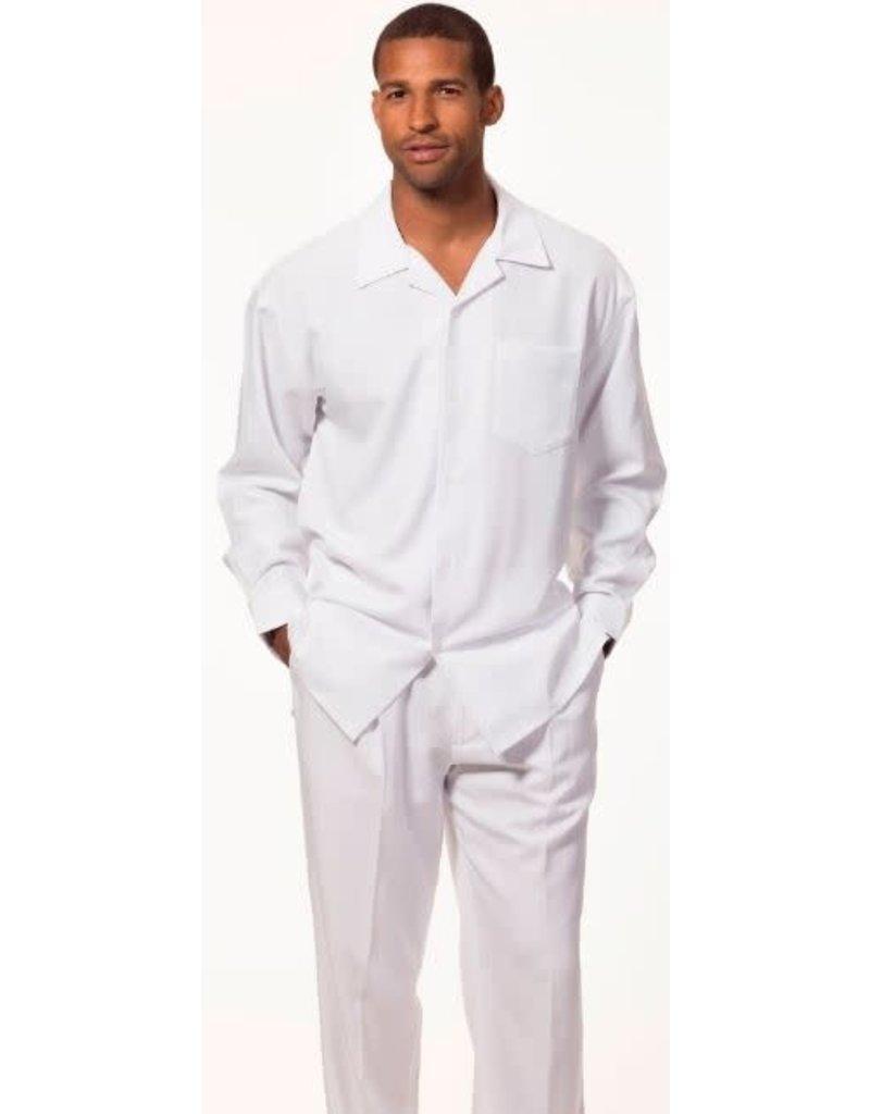 Montique Montique Long Sleeve Pantset - 1641 White