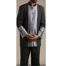 Royal Diamond Church Suit - Black