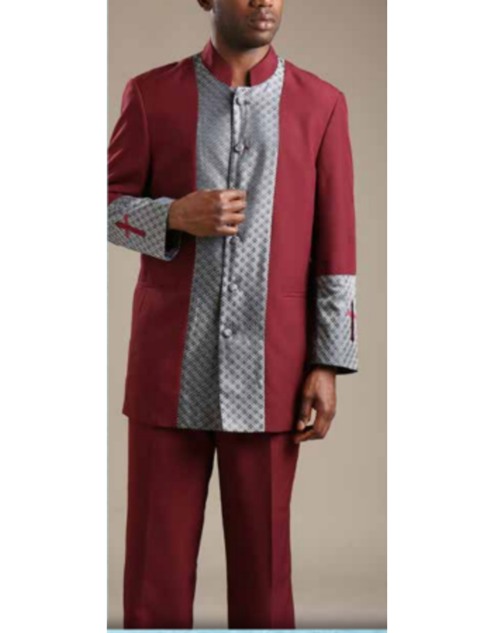 Royal Diamond Church Suit - Burgundy
