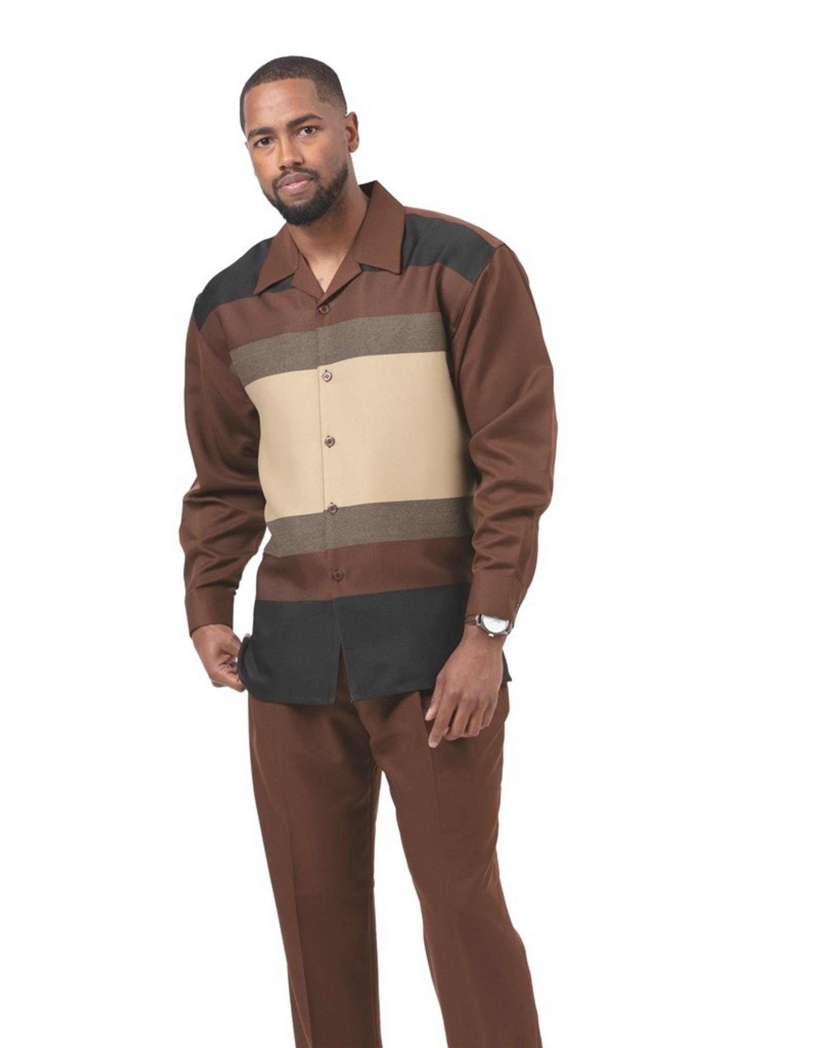 Montique Montique Long Sleeve Pantset - 1930 Brown