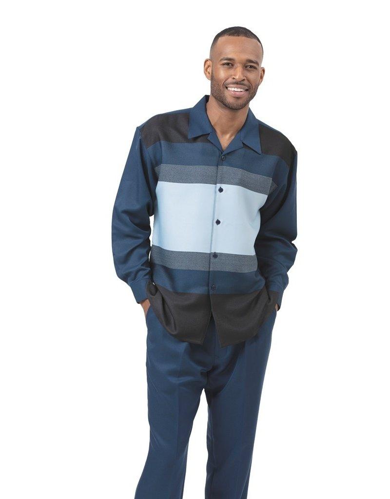 Montique Montique Long Sleeve Pantset - 1930 Navy Blue