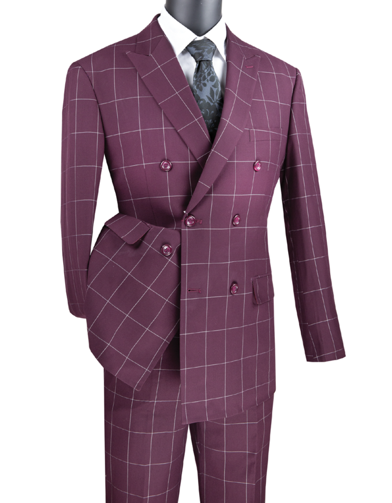 Vinci Vinci Double Breast Suit - MDW1 Burgundy