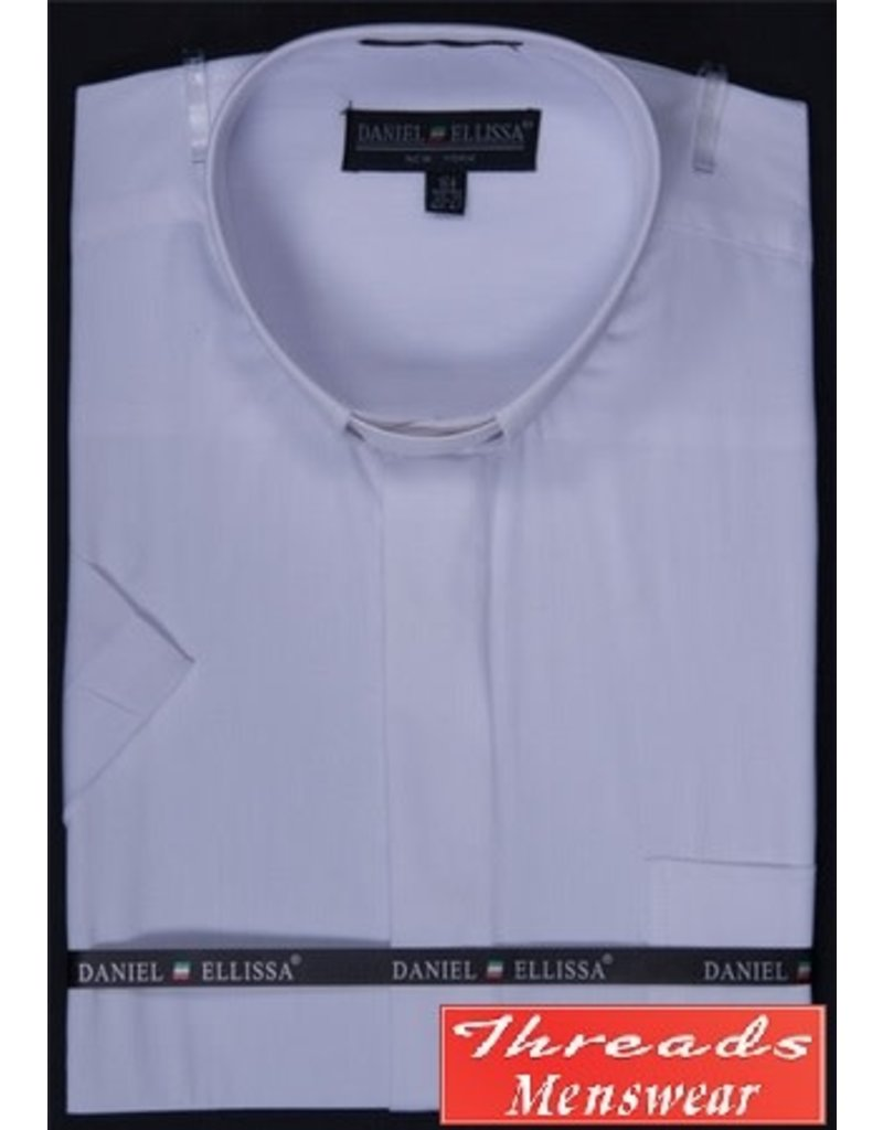 Daniel Ellissa Short Sleeve Tab Collar Clergy Shirt - White