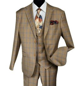 Falcone Falcone Vested Suit - 9228/728 Toast