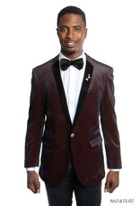 Tazio Tazio Slim Fit Velvet Blazer - MJ161 Black/Red