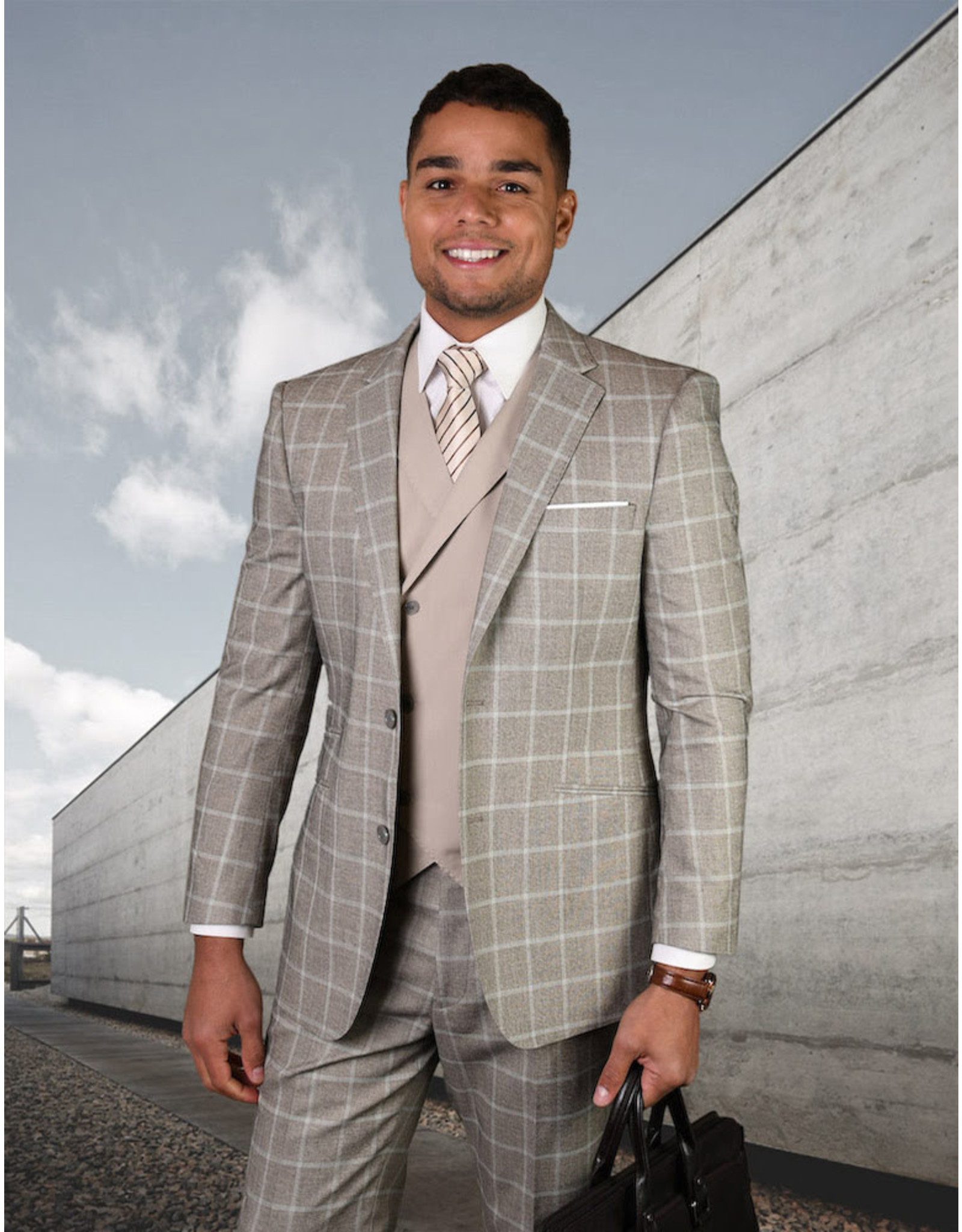 "Statement Statement ""Spello"" Vested Suit - Tan"