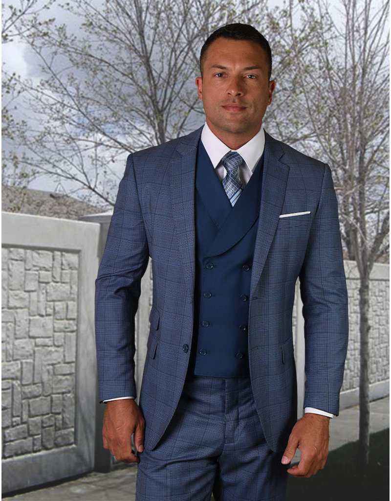 "Statement Statement ""Lorenzini"" Vested Suit - French Blue"