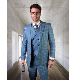 "Statement Statement ""Spello"" Vested Suit - Blue"