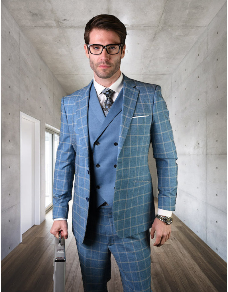 "Statement Statement ""Spello"" Vested Suit - Blue"
