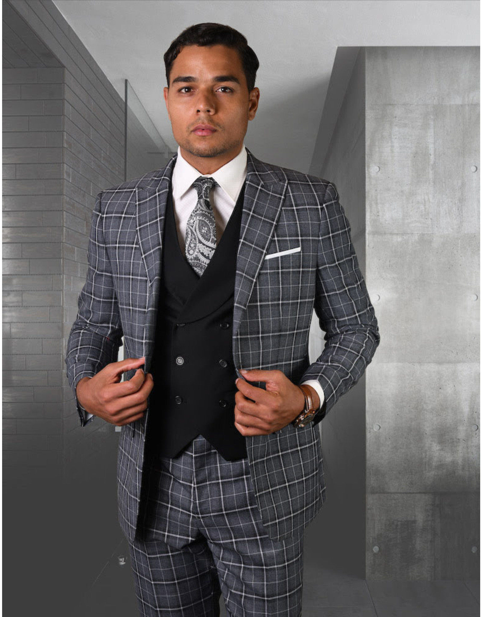 "Statement Statement ""Tivoli"" Vested Suit - Black"