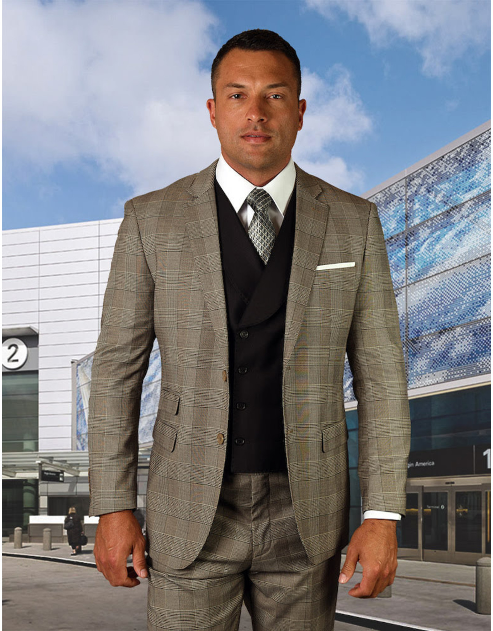 "Statement Statement ""Lorenzini"" Vested Suit - Tan"
