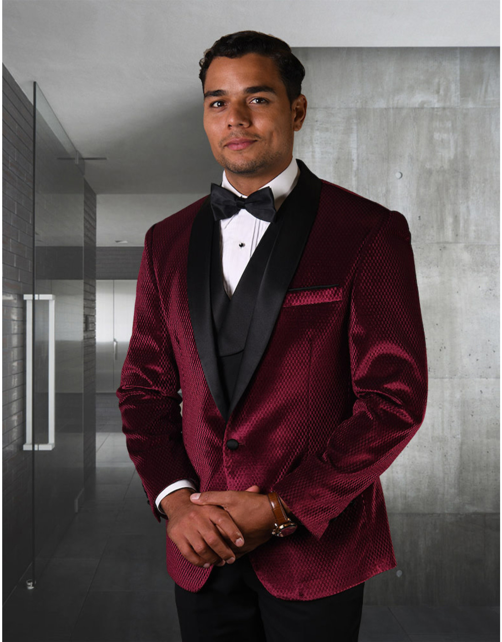 Statement Statement Burgundy/Black Velvet Jacket, Vest, & Pants