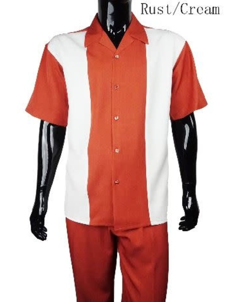 Luxton Luxton Short Sleeve Pant Set - 19400A Rust/Cream