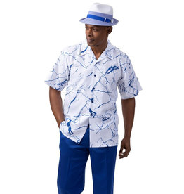 Montique Montique Short Sleeve Pantset - 2062 Royal