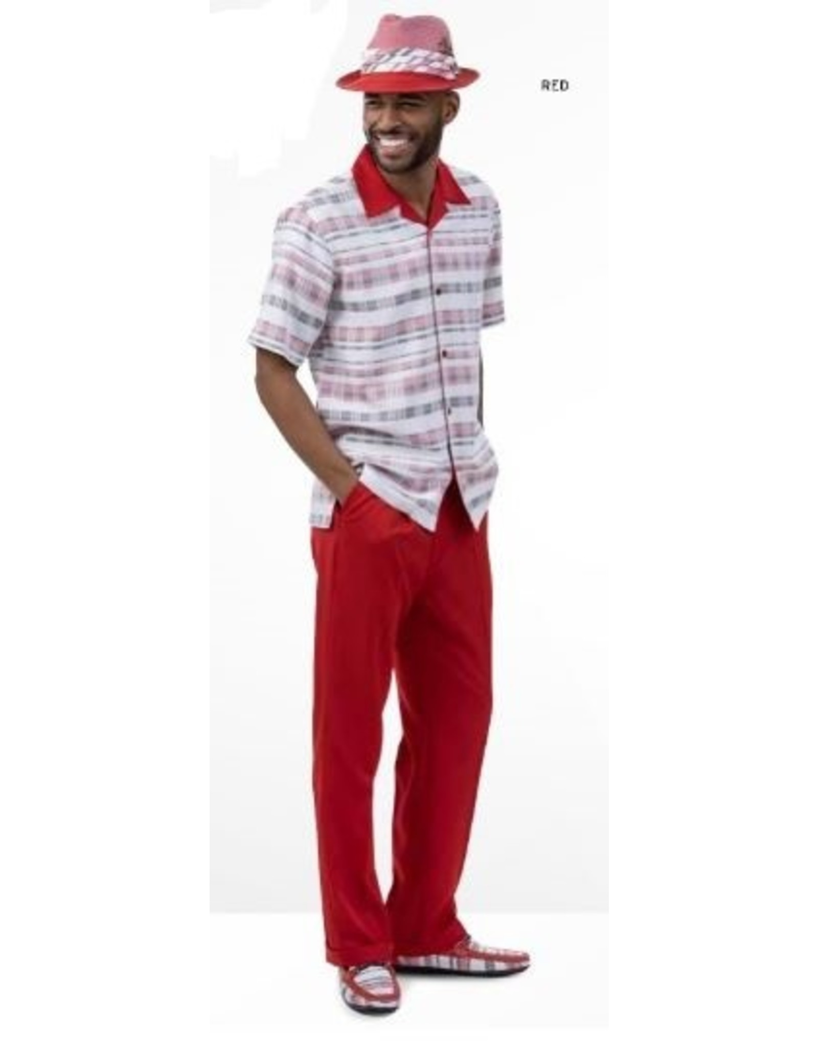 Montique Montique Short Sleeve Pantset - 2023 Red