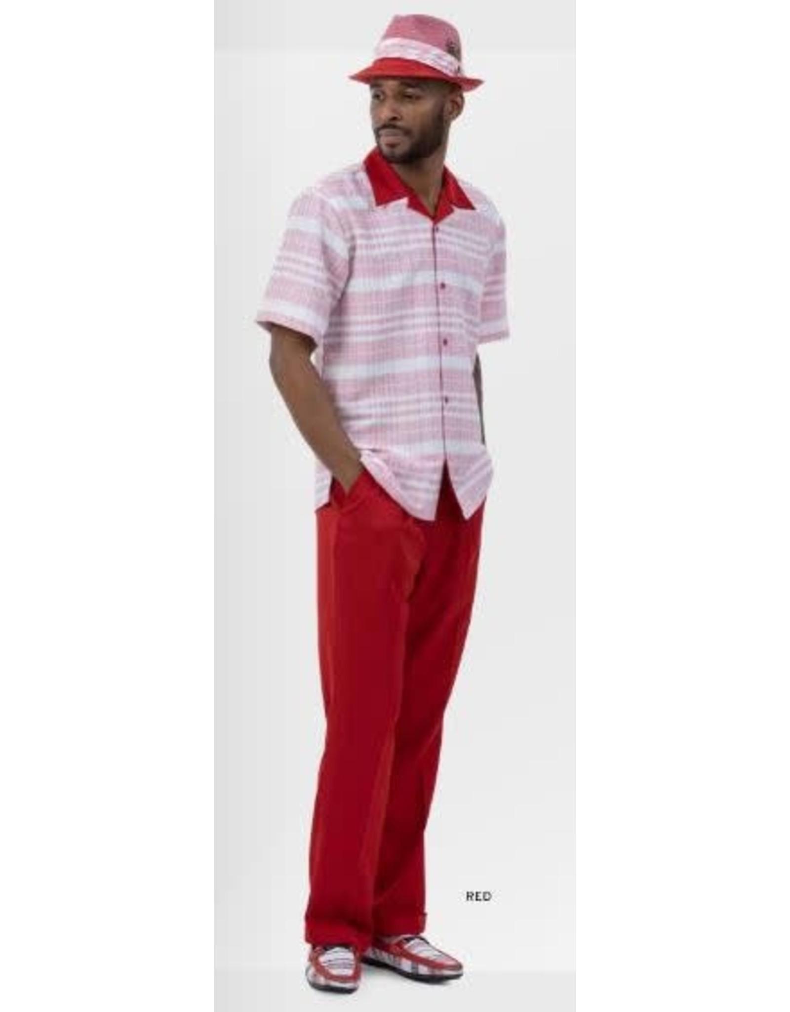 Montique Montique Short Sleeve Pantset - 2037 Red
